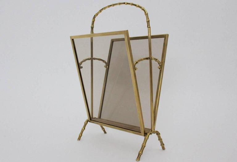 Mid-Century Modern Faux Bamboo Brass Magazine Rack Maison Bagues, France, 1940s For Sale