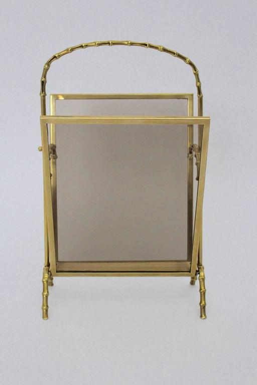French Faux Bamboo Brass Magazine Rack Maison Bagues, France, 1940s For Sale