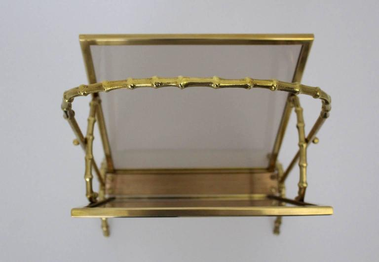 Mid-20th Century Faux Bamboo Brass Magazine Rack Maison Bagues, France, 1940s For Sale