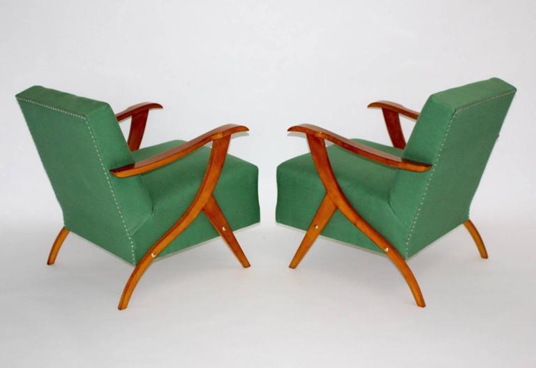 Zwei Grüne Italienische Lounge Stühle, 1950er Jahre 2