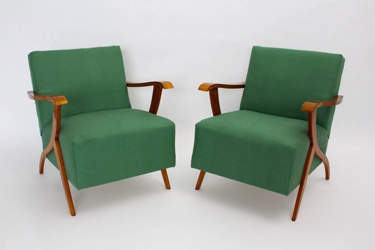 Zwei Grüne Italienische Lounge Stühle, 1950er Jahre 3