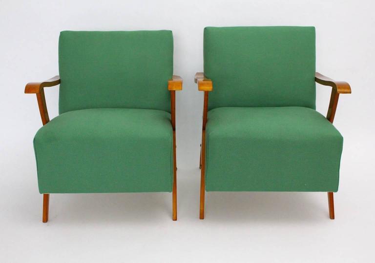 Zwei Grüne Italienische Lounge Stühle, 1950er Jahre 5