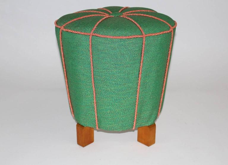green art deco stool or pouf austria 1930s for sale at 1stdibs. Black Bedroom Furniture Sets. Home Design Ideas