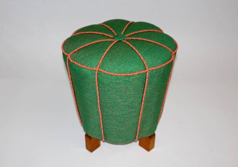 Green Art Deco Stool Or Pouf Austria 1930s For Sale At