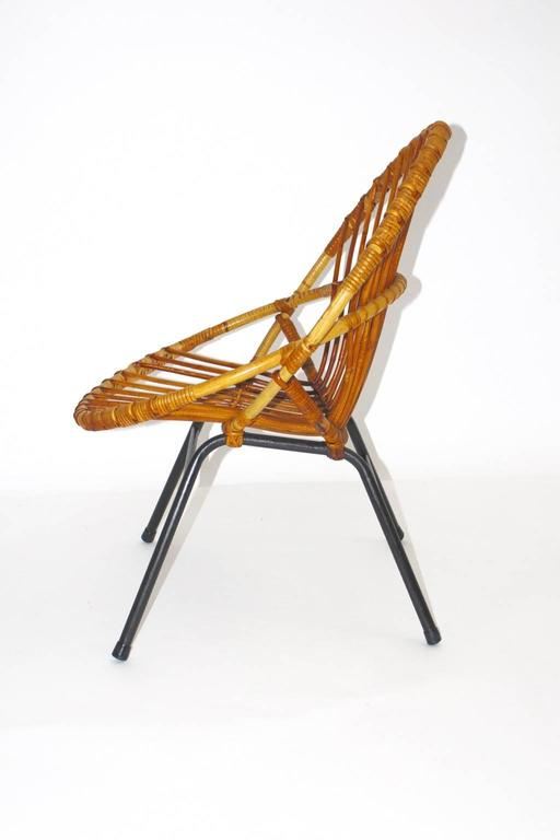 Mid Century Modern Rattan Chair By Rohe Noordwolde Netherlands, 1960s For  Sale
