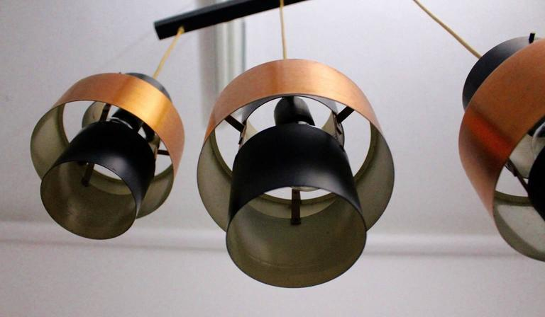 Lacquered Copper Chandelier by Jo Hammerborg, circa 1960 For Sale