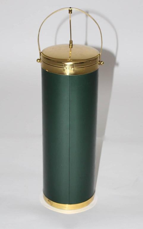 Mid Century Modern Green and Brass Wine Cooler, circa  1950, Italy In Good Condition For Sale In Vienna, AT