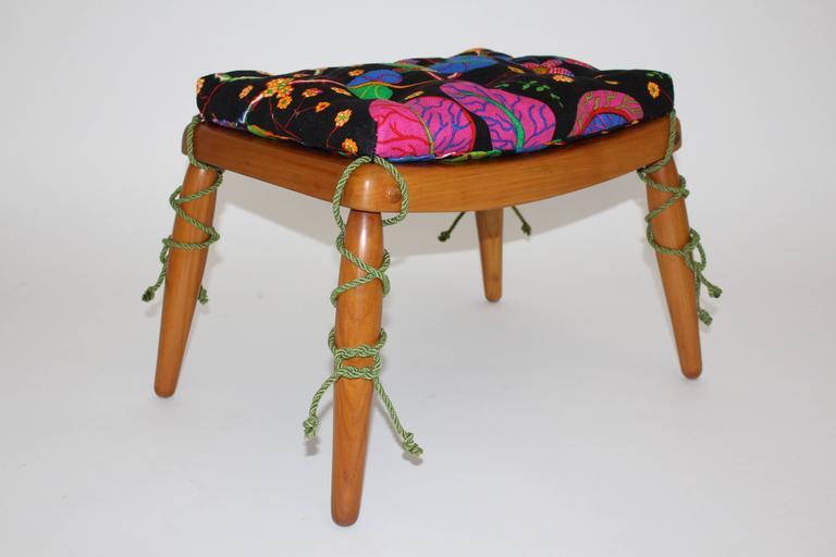 Beechwood Ottoman with Multicolored Cushion by Anna-Lülja Praun, circa 1952 2