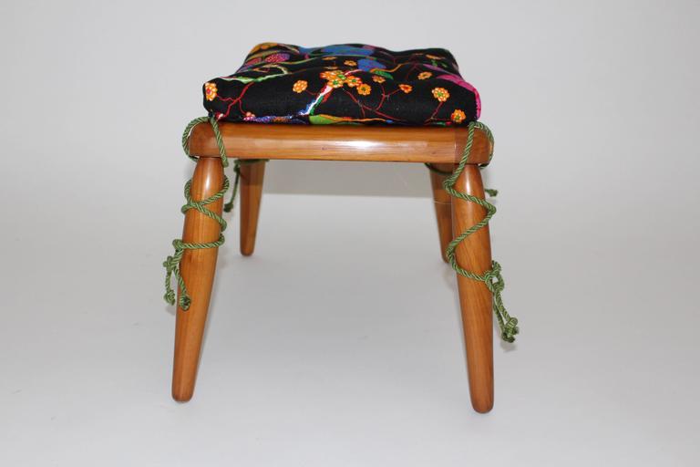 Beechwood Ottoman with Multicolored Cushion by Anna-Lülja Praun, circa 1952 3