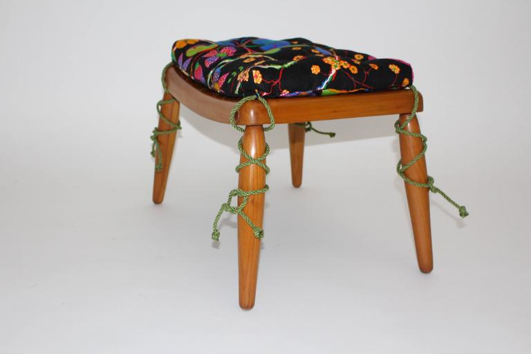 Beechwood Ottoman with Multicolored Cushion by Anna-Lülja Praun, circa 1952 4