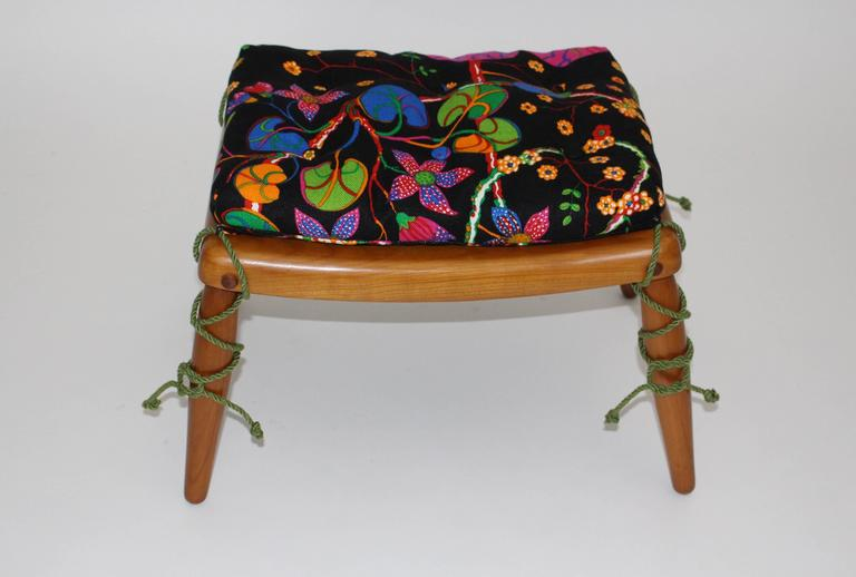 Beechwood Ottoman with Multicolored Cushion by Anna-Lülja Praun, circa 1952 5
