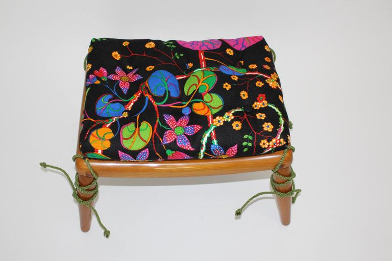 Beechwood Ottoman with Multicolored Cushion by Anna-Lülja Praun, circa 1952 6