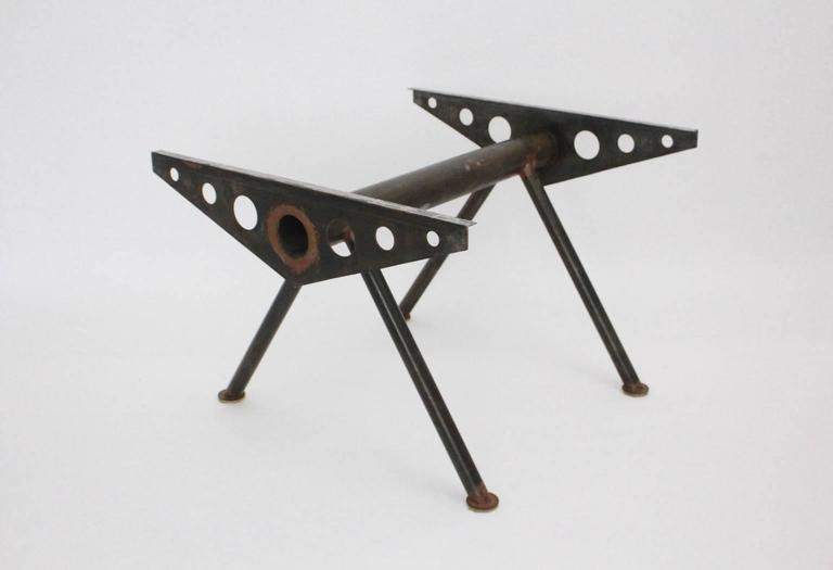 European Industry Style Steel Table in the Style of Jean Prouve, circa 1980 For Sale