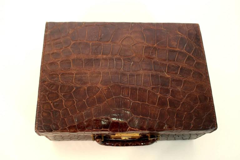 Early 20th Century Art Deco Brown Vintage Alligator Leather Case, 1920s For Sale