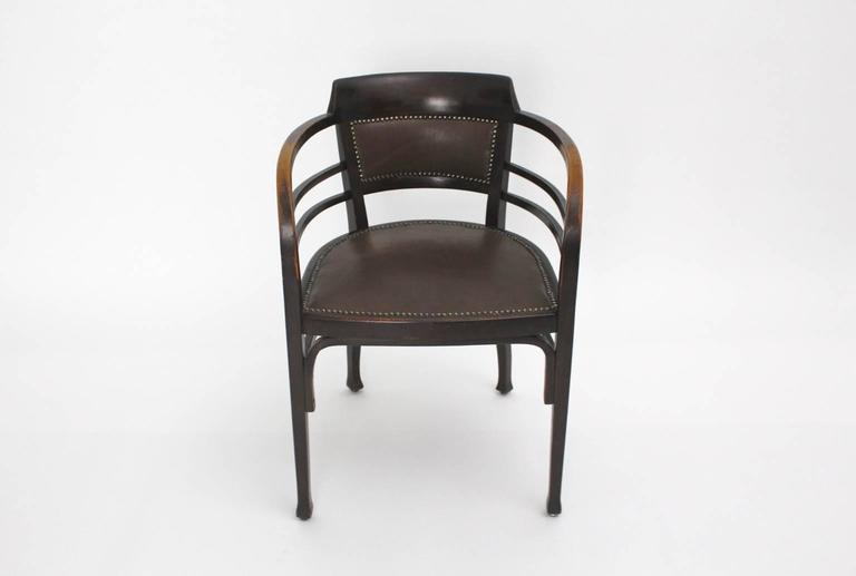 The armchair was designed by the Viennese Secessionist Josef Maria Olbrich and executed by Gebr. Thonet.  Josef Maria Ulbrich was a student by Otto Wagner - Co founder and builder of the Viennese Secession  The armchair was made of solid beechwood