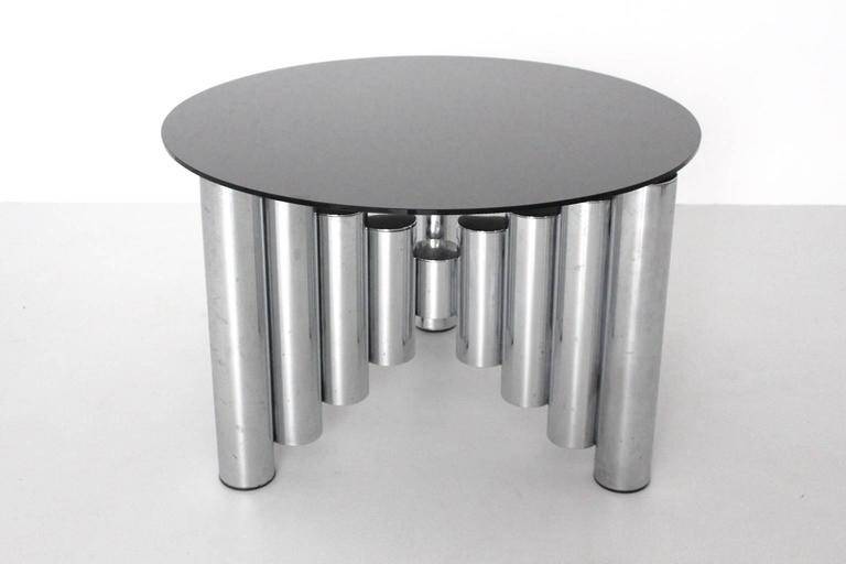 Mid-Century Modern Mid Century Modern Vintage Chromed Glass Manhattan Coffee Table, 1960s For Sale
