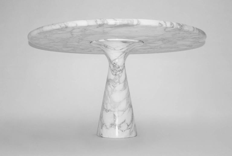 Italian Marble Black White Vintage Dining Table by Angelo Mangiarotti T 70 1969 Italy For Sale