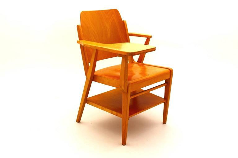 Mid-Century Modern Midcentury Modern  Brown Vintage Beechwood Chair by Franz Schuster, 1959 For Sale