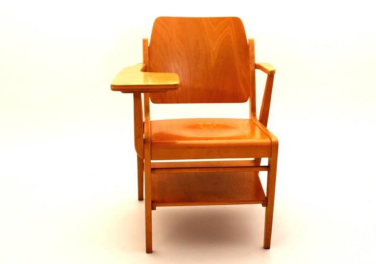 Austrian Midcentury Modern  Brown Vintage Beechwood Chair by Franz Schuster, 1959 For Sale