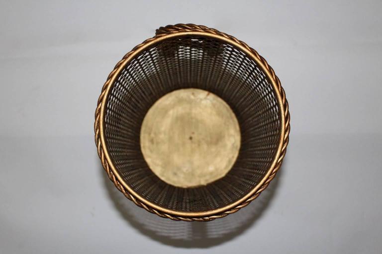 20th Century Mid Century Modern Golden Metal Vintage Umbrella Stand by Li Puma Firenze, 1950s