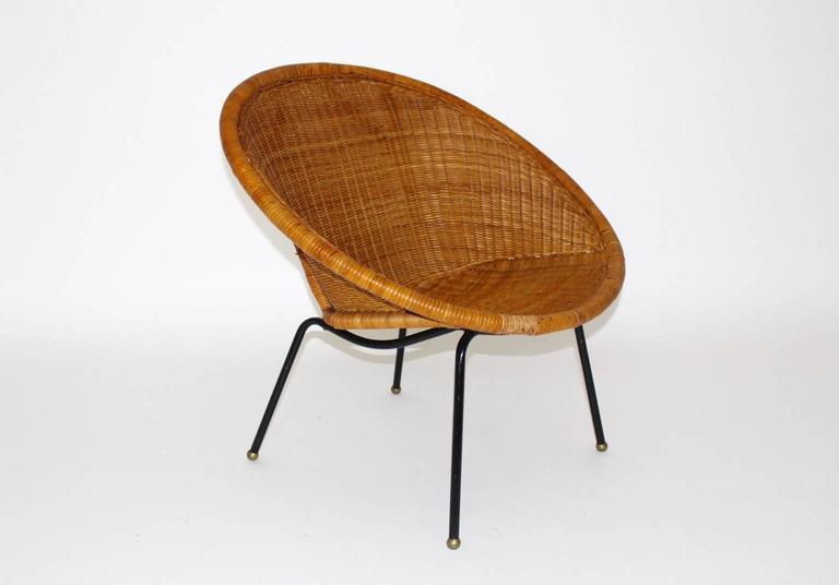 Mid Century Modern Italian Woven Rattan Club Chair 1950s