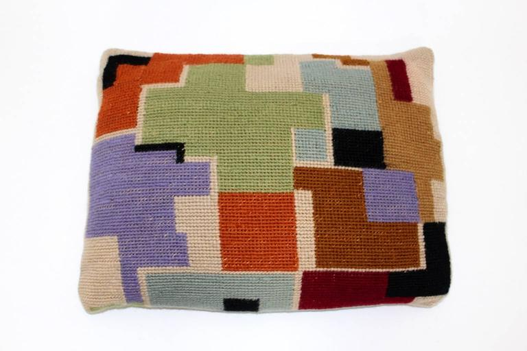Bauhaus Multicolored Hand Embroidery Wool Pillow with Geometric Design, 1920s In Good Condition For Sale In Vienna, AT