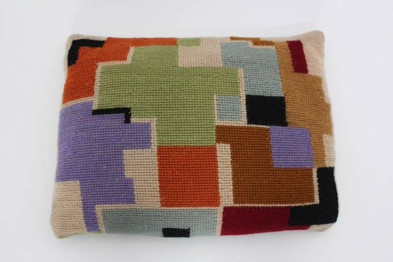 Early 20th Century Bauhaus Multicolored Hand Embroidery Wool Pillow with Geometric Design, 1920s For Sale
