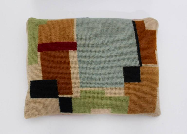 Bauhaus Multicolored Hand Embroidery Wool Pillow with Geometric Design, 1920s For Sale 1