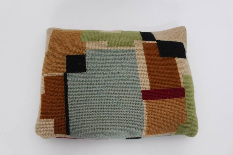 Bauhaus Multicolored Hand Embroidery Wool Pillow with Geometric Design, 1920s For Sale 2