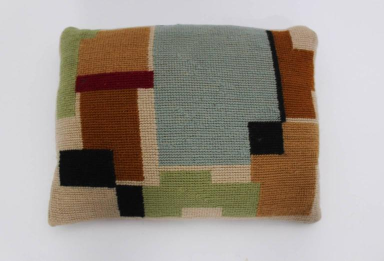 Bauhaus Multicolored Hand Embroidery Wool Pillow with Geometric Design, 1920s For Sale 3