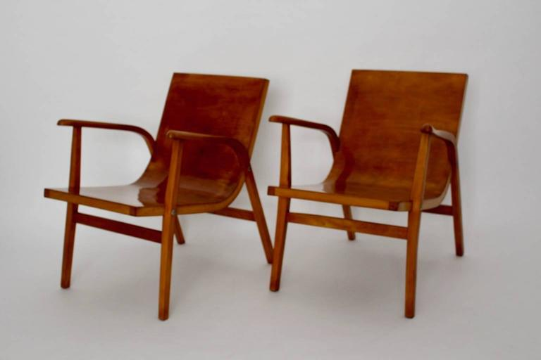 Austrian Mid-Century Modern Wooden Roland Rainer Lounge Chairs, 1952, Vienna For Sale