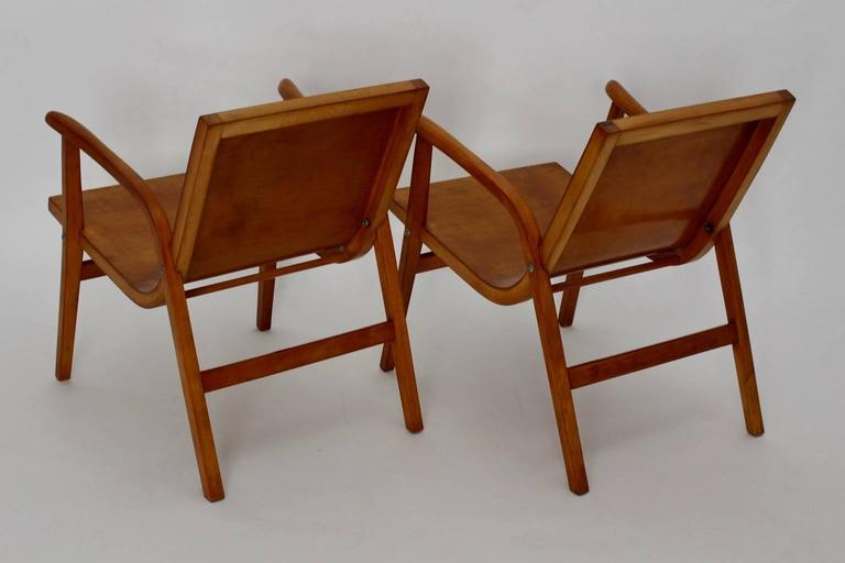 Mid-Century Modern Wooden Roland Rainer Lounge Chairs, 1952, Vienna In Good Condition For Sale In Vienna, AT