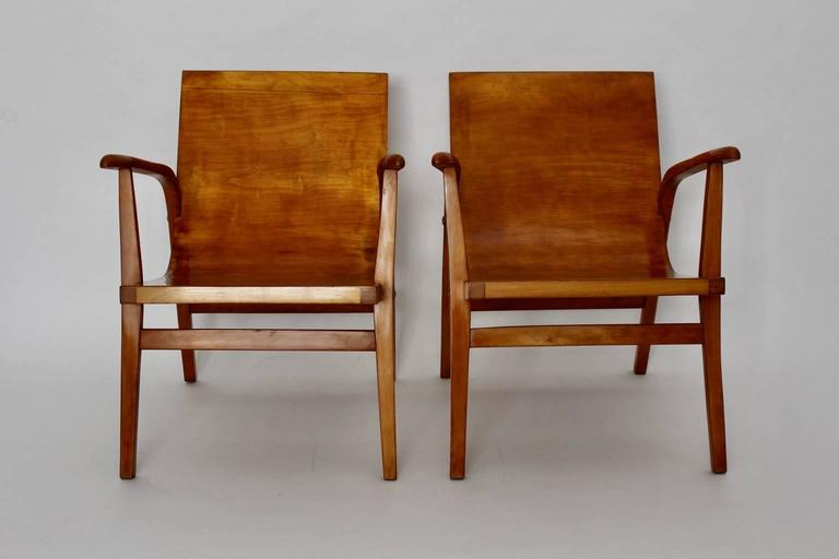 Mid-Century Modern Wooden Roland Rainer Lounge Chairs, 1952, Vienna For Sale 1