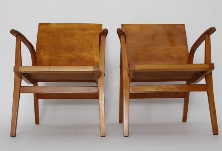 Mid-Century Modern Wooden Roland Rainer Lounge Chairs, 1952, Vienna For Sale 2