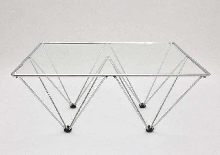 Chromed Square Coffee Table in the Style of Paolo Piva, circa 1980, Italy 2