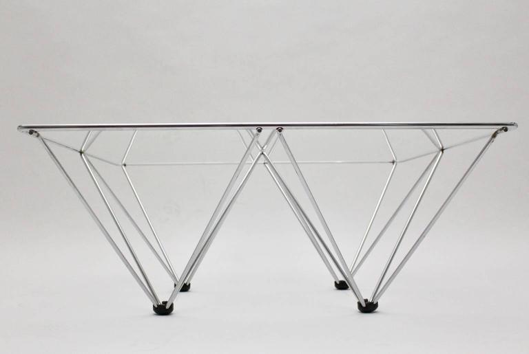Chromed Square Coffee Table in the Style of Paolo Piva, circa 1980, Italy 3