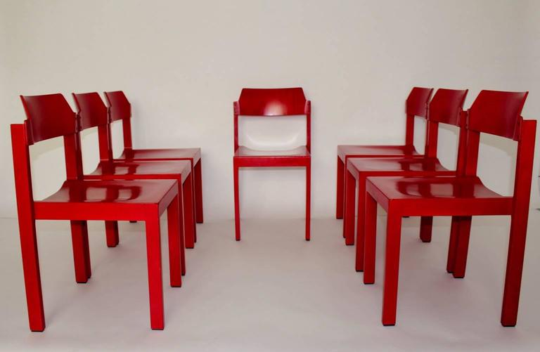 Mid Century Modern Red Vintage Beech Dining Room Chairs 1960s For Sale 2