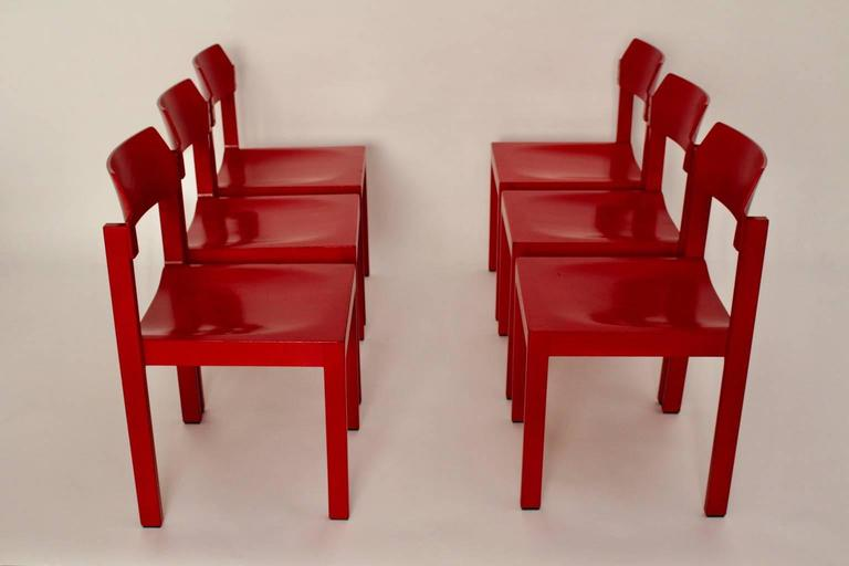 Mid Century Modern Red Vintage Beech Dining Room Chairs 1960s For Sale 3