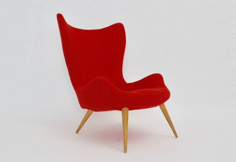 Red Mid-Century Modern Lounge Chair, 1950s In Good Condition For Sale In Vienna, AT