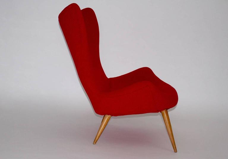 20th Century Red Mid-Century Modern Lounge Chair, 1950s For Sale
