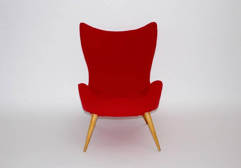 Fabric Red Mid-Century Modern Lounge Chair, 1950s For Sale
