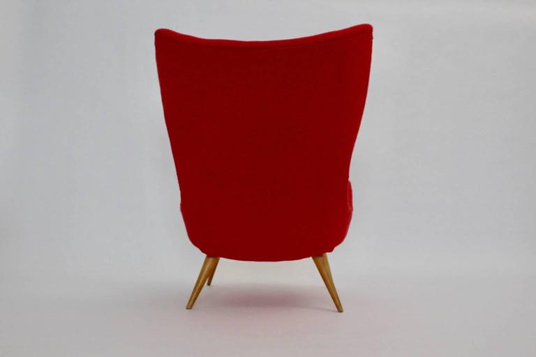 Red Mid-Century Modern Lounge Chair, 1950s For Sale 1