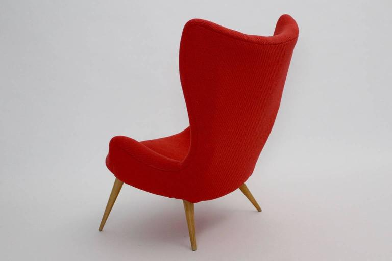 Red Mid-Century Modern Lounge Chair, 1950s For Sale 2