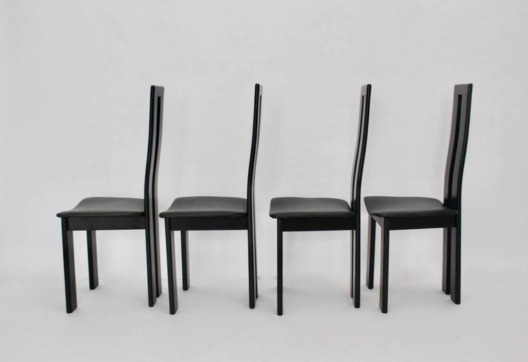 20th Century Black Dining Room Chairs by Pietro Costantini, 1970, Italy Set of Four For Sale