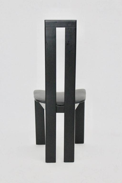 Black Dining Room Chairs by Pietro Costantini, 1970, Italy Set of Four For Sale 2