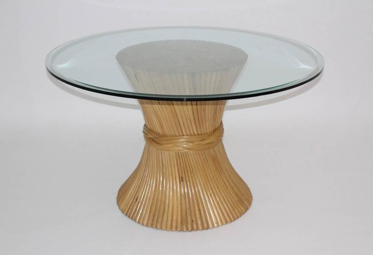 Mid-Century Modern  Bamboo Dining Table Sheaf of Wheat by Mc Guire, circa 1970 United States For Sale