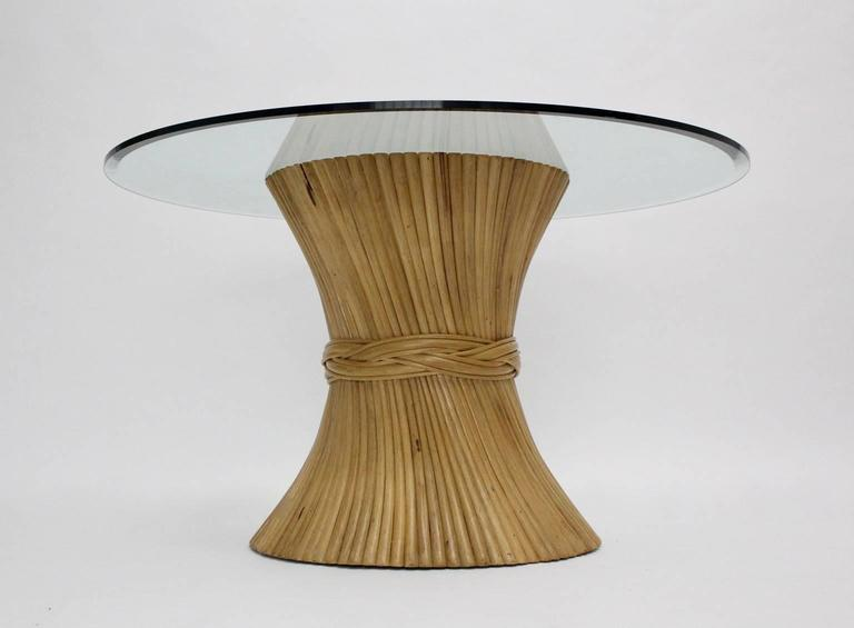 Bamboo Dining Table Sheaf of Wheat by Mc Guire, circa 1970 United States In Good Condition For Sale In Vienna, AT