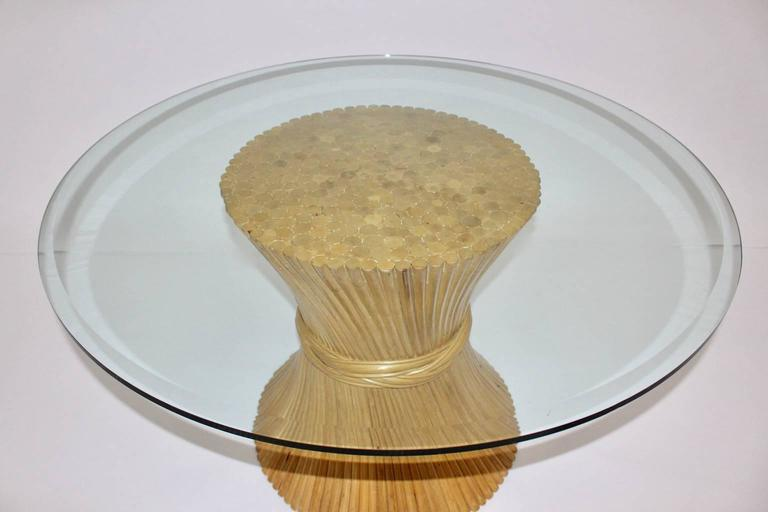 20th Century  Bamboo Dining Table Sheaf of Wheat by Mc Guire, circa 1970 United States For Sale