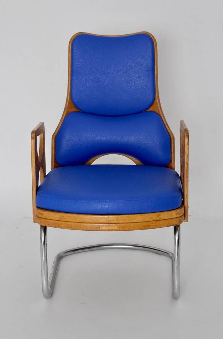 Blue Armchair Scandinavian Mid-Century Modern, 1960s For Sale 1