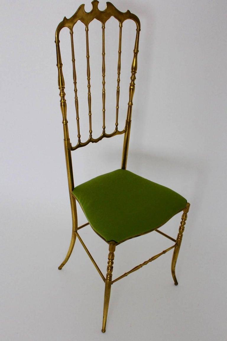 Mid-Century Modern Mid Century Modern Brass Vintage Chiavari Chair, 1950s, Italy For Sale